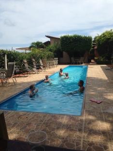 Pelada crew in pool